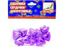 Бубенчики-Сердечки декоративные, 10шт, 2 цвета в ассортименте