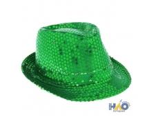 Шляпа с пайетками зеленая