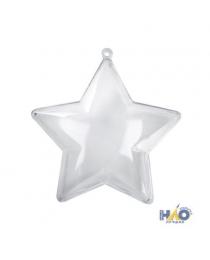 Елочное украшение Звездочка прозрачное разборное 10 см ч22524