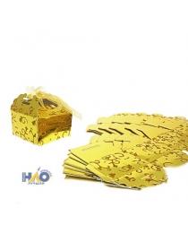 Коробка сборная квадрат 6х6х4см, золото (компл.=10 шт) ч18906