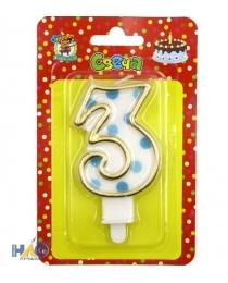 Свеча для торта.  Синий  горошек. Цифра 3 С-2642