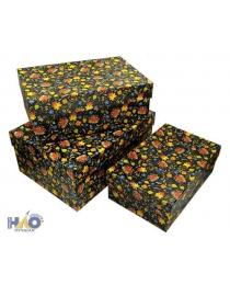 Набор коробок 3 в 1 Цветочная фантазия (23 х 16 х 9,5 - 19 х 12 х 6,5 см) ПП-0574