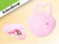Сумочка детская плюшевая с бантиком СЕРДЦЕ, розовый цвет