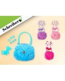 Подарочный набор: плюшевая сумочка, резинки и заколки для волос, 9х11х1см.