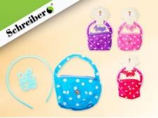 """Подарочный набор: плюшевая сумочка, резинки и ободок для волос, расцветка - ГОРОХ, с аппликацией """"цветочек"""", 10х11х1см"""