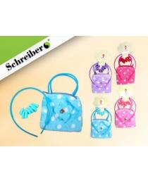 Подарочный набор: плюшевая сумочка, резинки и ободок для волос,10,5х11х1см