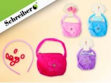 """Подарочный набор: плюшевая сумочка, резинки и ободок для волос, с аппликацией """"цветочек"""""""