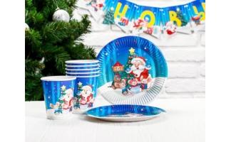 Посуда бумажная, скатерти Новогодние