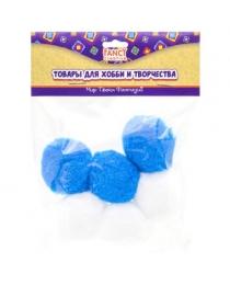 Помпоны, d=40 мм, 6 шт, синие и белые микс, п/п с е/п арт.FD020173