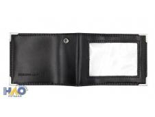 Обложка с окошком, люверсом и уголками  для удостоверения , 220*80 мм, нат кожа, черная ОП-5192