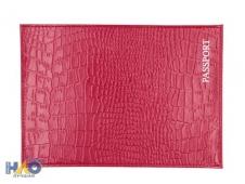 """Обложка для паспорта из натуральной кожи Крокодил, алый, тисн.серебро """"PASSPORT"""" ОП-9161"""
