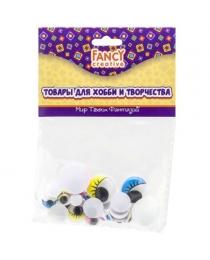 Глаза c ресницами декоративные цветные, ассорти, 24 шт., п/п с е/п арт.FD020189