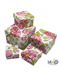 Набор коробок 5 в 1 Цветы (12*12*9 - 6*6*3 см) ПП-0605