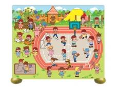 Пазл на подставке. Детская площадка. 80 деталей. 32х25,6 см. ГЕОДОМ