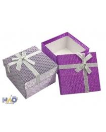 """Подарочная коробка:""""Голография"""", цветная /ассорти/, с бантиком из органзы; размер 5,5*9*9см."""