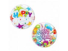 "Шар Ф 18"" Круг Happy birthday Подарок прозрачный 45 см"