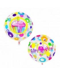"""Шар Ф 18"""" Круг Happy birthday Торт прозрачный 45 см"""