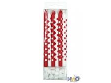 MCСвечи  Красные и белые в горошек 12шт с держателями 12см