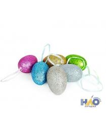Яйца подвеска 6 см блестки разноцветные (6 шт./уп.)