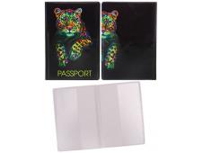 """Обложка на паспорт """"Леопард"""" (ПВХ) ОП-4175"""