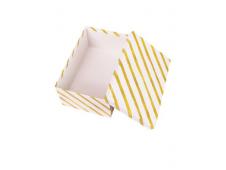 """Одинарная прямоугольная коробка """"Золотая полоса"""" 23,5 х 15,5 х 10 см НПК-7594"""