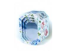 Набор шестиугольных коробок 3 в 1 Цветы (20х15х13-15х11х10 см) ПП-5925