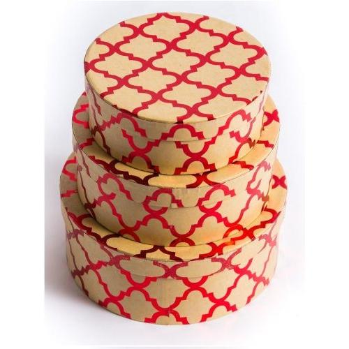 Набор круглых коробок 3 в 1 Узор (17.5х17.5х7-13.5х13.5х5 см) ПП-5931