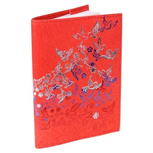 """Обложка для паспорта из натуральной кожи, красный, тиснение тремя цветами """"Летящий Флаг"""" ОП-6483"""