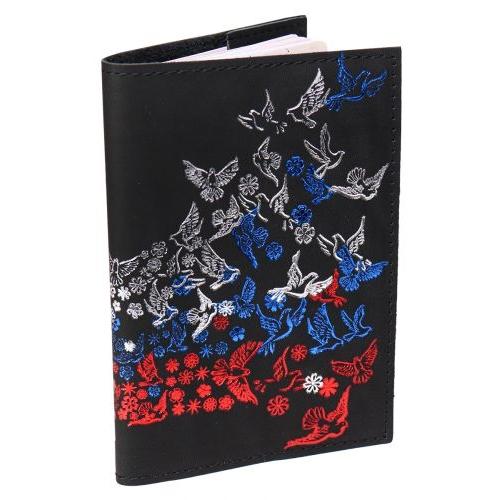 """Обложка для паспорта из натуральной кожи, черный, тиснение тремя цветами """"Летящий Флаг"""" ОП-6485"""