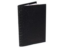 """Обложка для паспорта из натуральной кожи, черный """"Питон"""" ОП-6487"""
