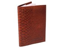 """Обложка для паспорта из натуральной кожи, коричневый """"Питон"""" ОП-6488"""