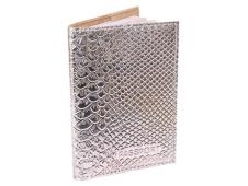 """Обложка для паспорта из натуральной кожи, серебряный """"Железный Питон"""" ОП-6489"""