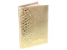 """Обложка для паспорта из натуральной кожи, золотой """"Железный Питон"""" ОП-6491"""