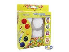 """Керамические сувениры для раскрашивания """"Совы"""", блистерная упаковка,4 фигурки в наборе с кисточкой и акриловыми красками (6 цветов), 19х3х23 см."""