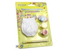 """Керамический сувенир для раскрашивания """"Сова"""", блистерная упаковка, фигурка в наборе с кисточкой и акриловыми красками(3 цвета), 12,5х2,5х17,5 см."""
