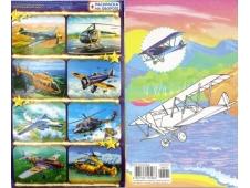 Наклейки А6 глиттер + раскр. (513) Самолеты, вертолеты 26571