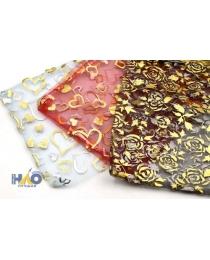 Подарочный пакет: из органзы; цветной с золотистым рисунком, 18*23см.