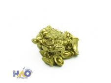 "Статуэтка золотая ""Жаба денежная на монетах"" (4х3х4 см) Т-4906"