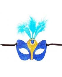 Маска голубая блеск с перьями
