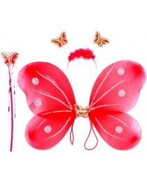 """Набор Карнавал """"Крылья бабочки красные с палочкой и ободком"""" 44х40 см"""