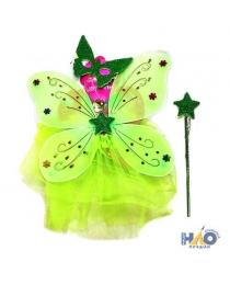 """Набор Карнавал """"Крылья бабочки салатовые с юбочкой, палочкой и маской"""""""