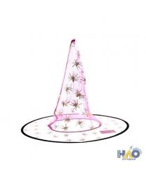 Шляпа Ведьмы розовая прозрачная с золотыми пауками 38 см   (уп. по 12 шт.)