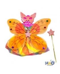 """Набор Карнавал """"Крылья бабочки оранжевые с юбочкой, палочкой и маской"""""""
