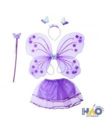 """Набор Карнавал """"Крылья бабочки фиолетовые с юбочкой, палочкой и ободком"""""""