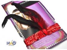 Повязка на голову 2 пера красно-черная 16 см