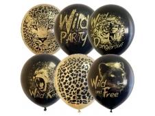 "M 12""/30см  BLACK&GOLD асорти  рис Wild Party  25шт шар латекс"