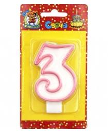 """Свеча для торта с розовой окантовкой """"3"""" С-1187"""