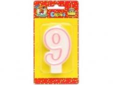 """Свеча для торта с розовой окантовкой """"9"""" С-1193"""