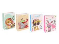 Dream cards Пакет подарочный с мат. лам. Львенок и совенок 18х24х8.5 см (M),210 г ПКП-3423