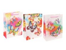 Dream cards Пакет подарочный с мат. лам. Прекрасные бабочки 26х32х10 см (L),210 г  ПКП-3473